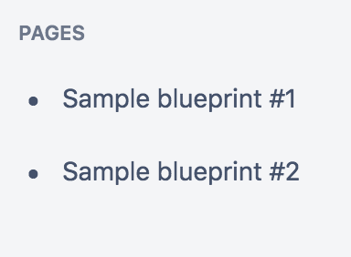 Sample pages created from a blueprint