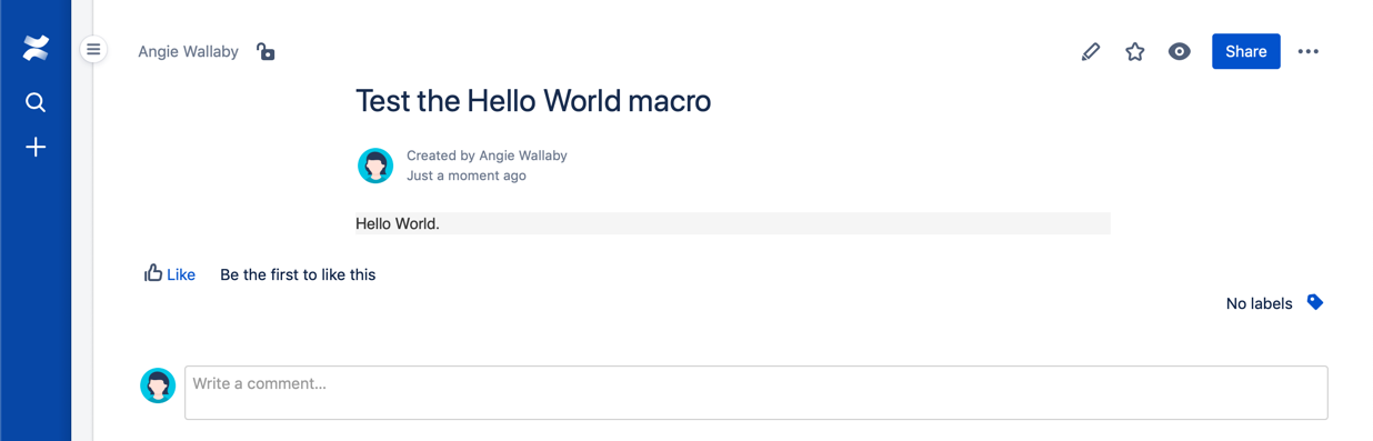 hello world macro