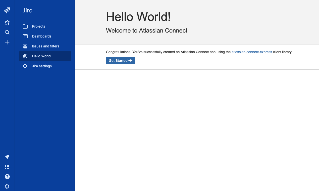 Screenshot of Hello World page