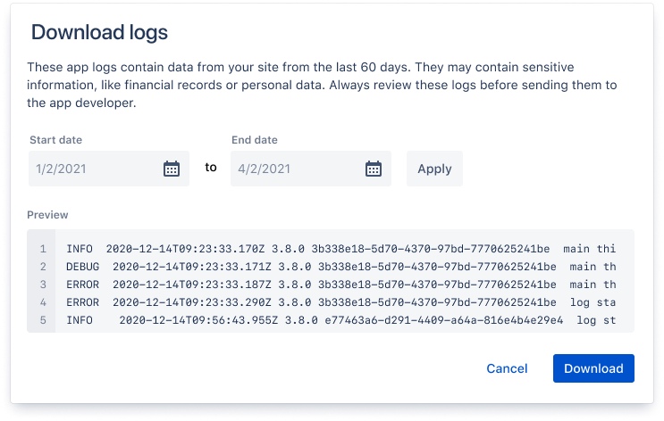 The logs preview modal, displaying logs and date range picker