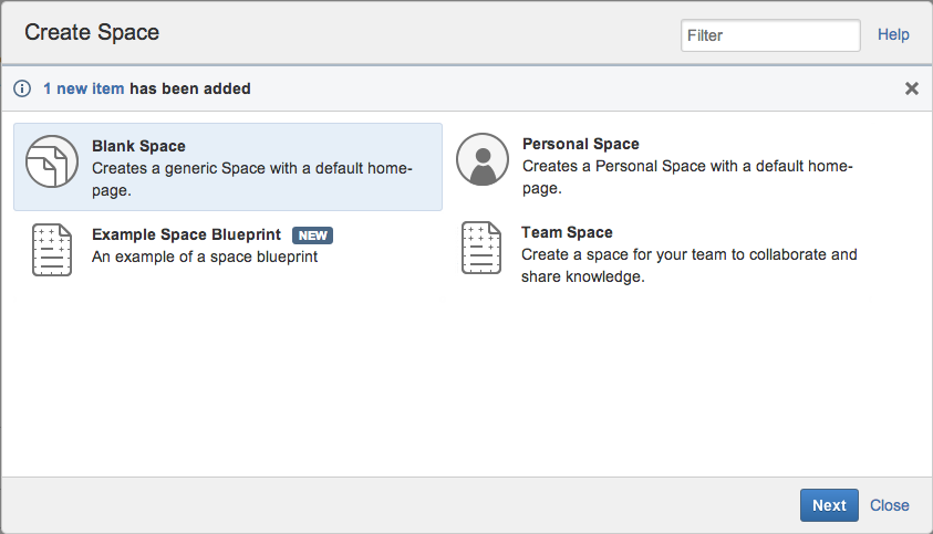 Write a simple confluence space blueprint step 6 add new fields to the create space dialog malvernweather Images