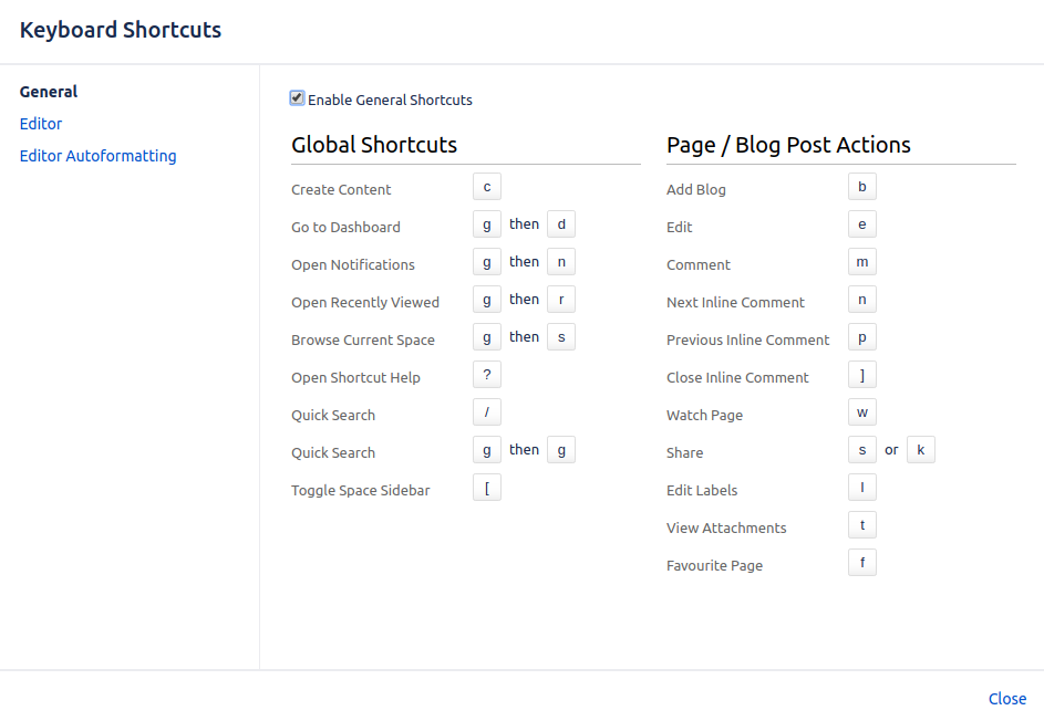 Adding Confluence Keyboard Shortcuts
