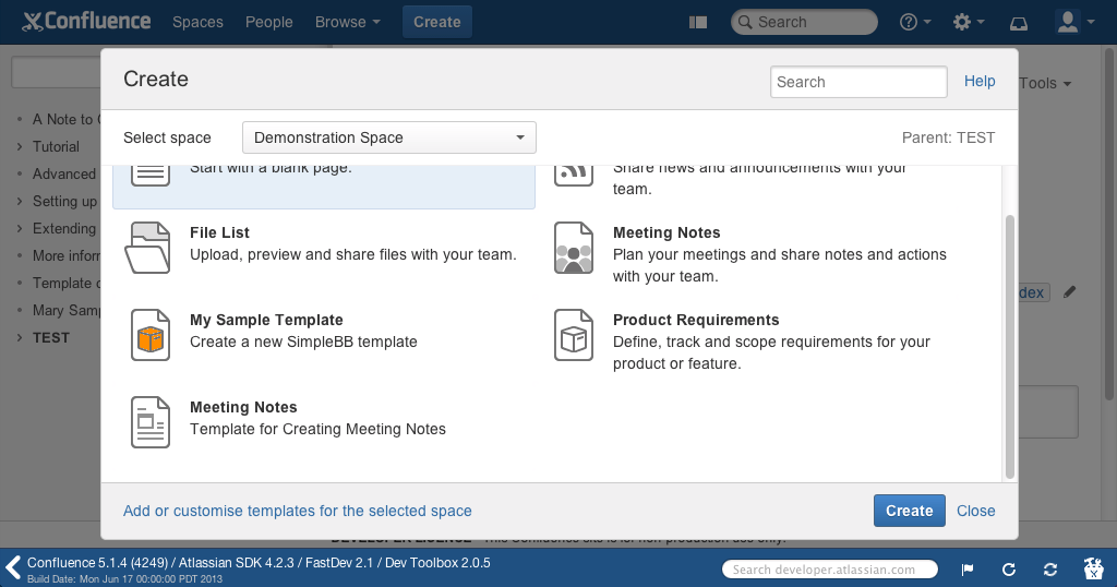Write a simple confluence blueprint plugin step 7 build your changes and see your plugin in action pronofoot35fo Gallery