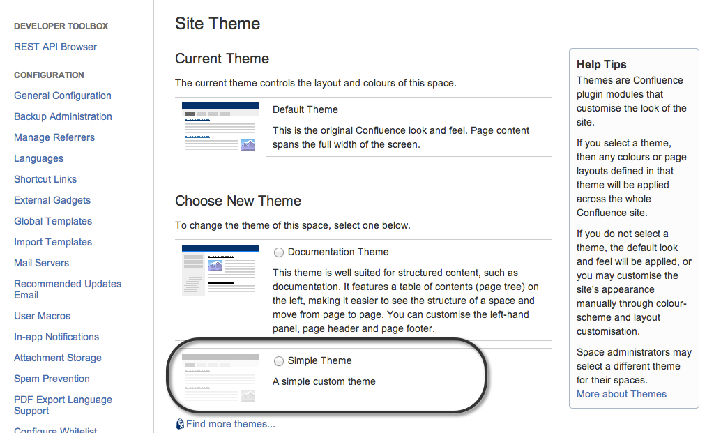 The Themes page in Confluence