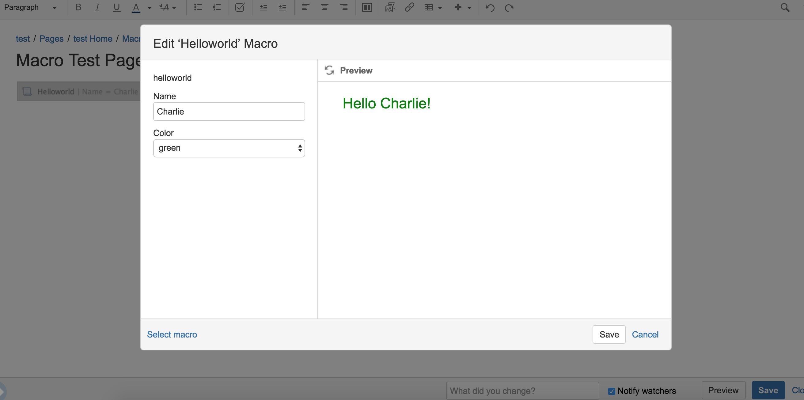 Create a Confluence 'Hello World' macro